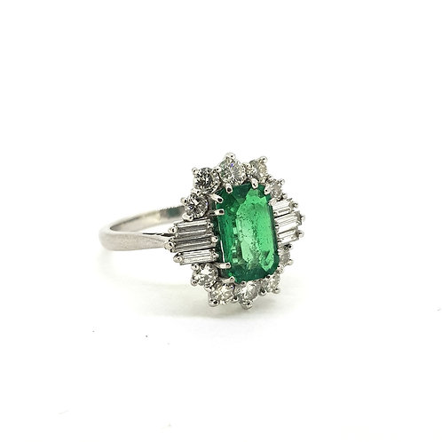 Columbian emerald and diamond ring with certificate est. E2 0Cts D1.40Cts