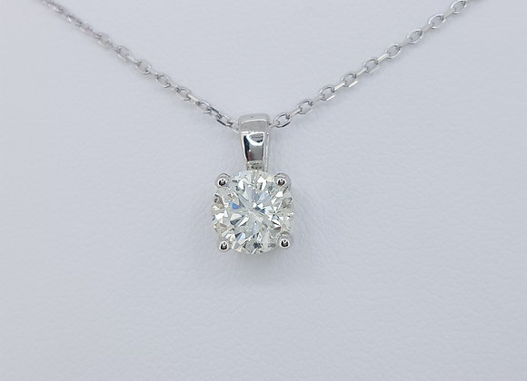 Solitaire diamond pendant and chain 1.30cts
