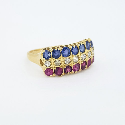 18 carat Ruby sapphire and diamond tri-colour ring