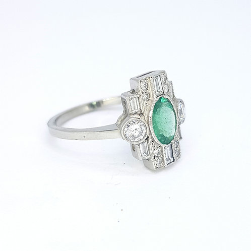 Emerald and diamond cluster ring D0.60CTS E0.77CTS