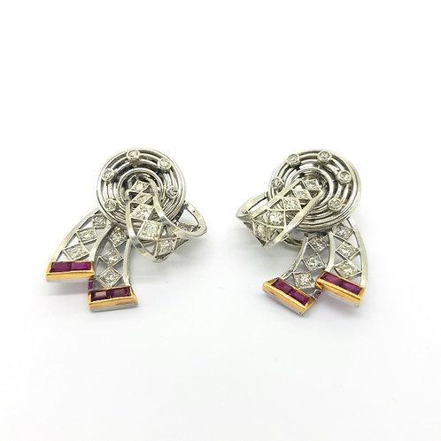 Platinum and diamond earrings circa 1940
