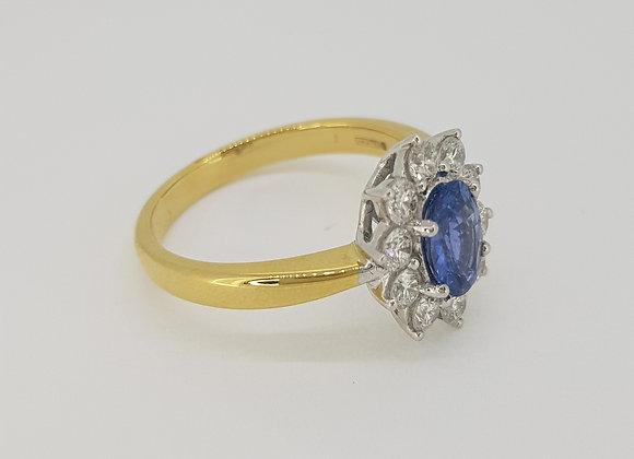 Sapphire and diamond cluster ring a1.0cts d0.60cts