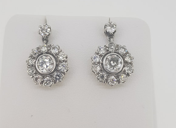 Diamond cluster earrings old cuts est2.50cts
