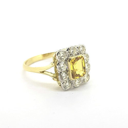 Yellow sapphire and diamond cluster ring Ys1.20Cts D1.0Cts