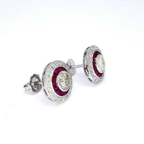 Calibre set ruby and diamond target earrings