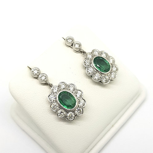 Emerald and diamond cluster drop earrings Em3.03Cts D2.01Cts