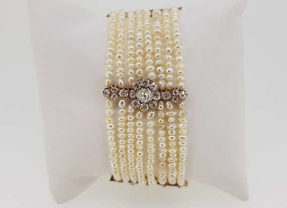 Old cut diamond and natural seed pearl bracelet