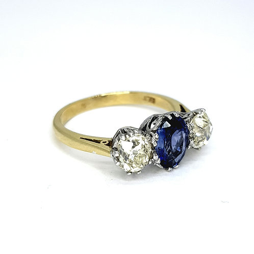Sapphire and diamond three stone ring S1.20CTS D1.35CTS