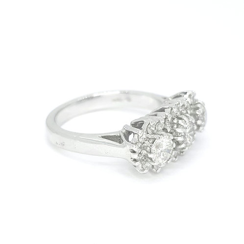 Triple cluster diamond ring D1.60CTS 18ctWG