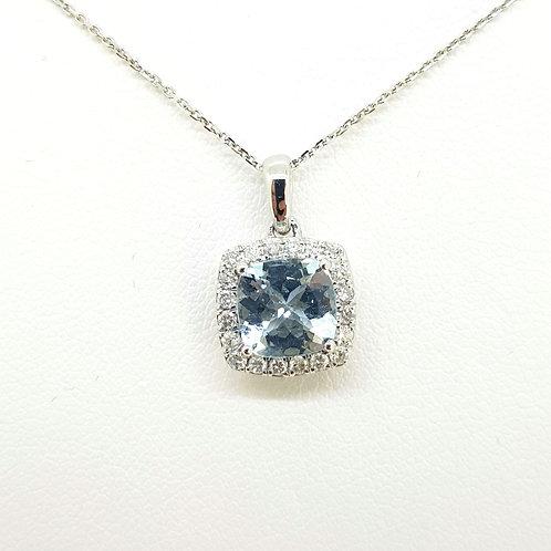 Aquamarine and diamond pendant and chain Aq1.44Cts D0.24Cts