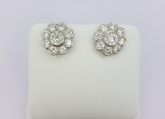 Daisy diamond cluster earrings 2.55cts