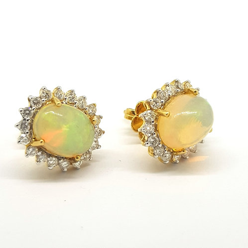 Opal and diamond cluster studs O2.37Cts D1.08Cts