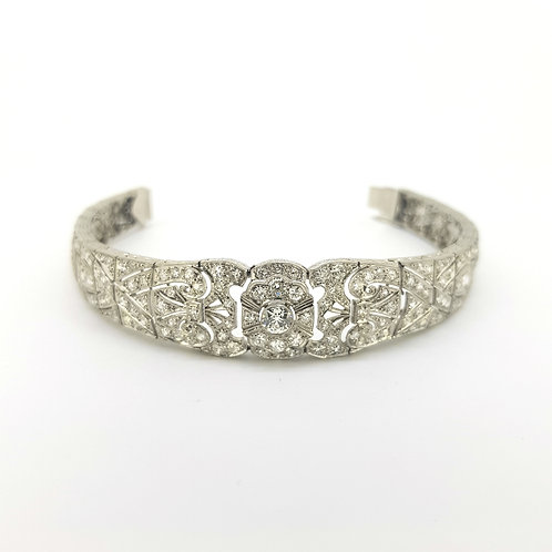 Art Deco Tapered Bracelet in Platinum