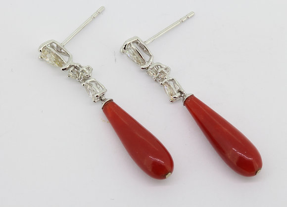 Diamond and coral drop earrings