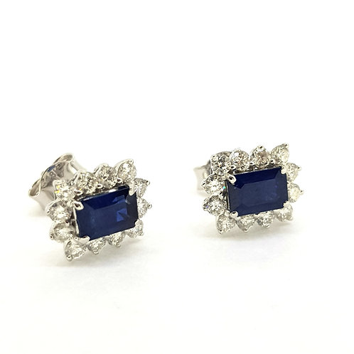 Sapphire and diamond cluster earrings S1.51Cts D0.70Cts