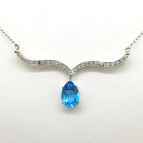 Blue Topas and diamond illusion necklace