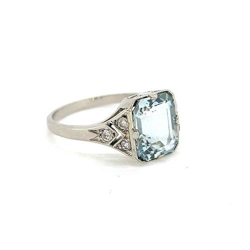 Platinum Aquamarine and diamond cluster ring Aq2.00Cts D0.15Cts