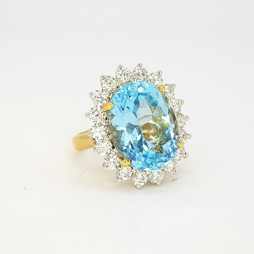 Blue Topaz and diamond cluster ring BT14Cts D1.80Cts