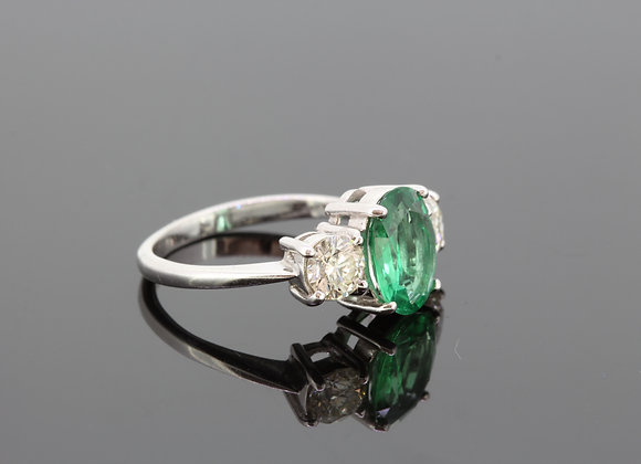 Emerald and diamond three stone s2.80cts d1.0cts