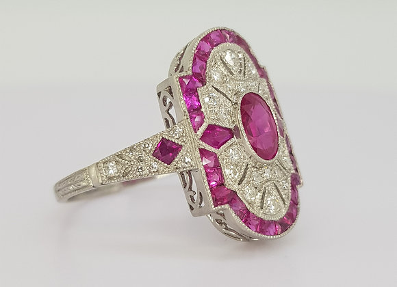 Art Deco style calibre ruby and diamond ring.