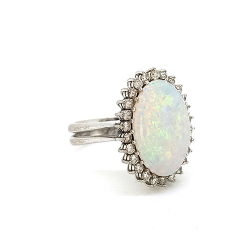 Opal and diamond cluster ring d.80cts