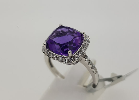 Contemporary Amethyst and Diamond Cluster ring