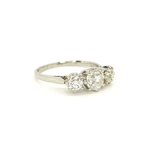 Edwardian platinum 3 stone diamond ring