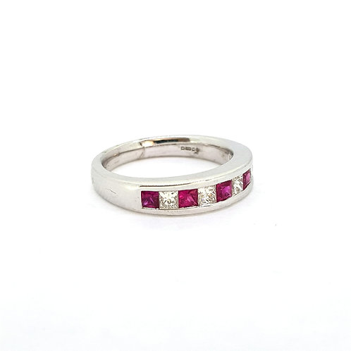 Ruby and diamond Eternity band 18Ct