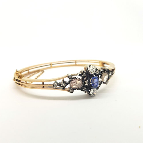 Victorian Natural Sapphire and Diamond bangle.