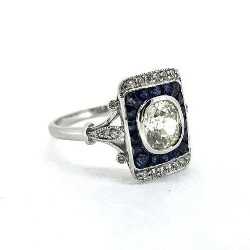 Sapphire and diamond panel ring.