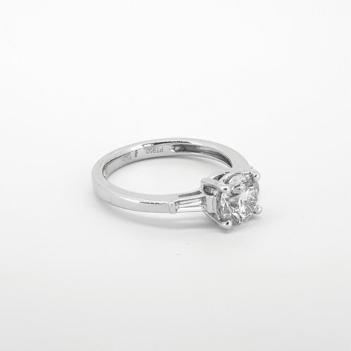 Solitaire diamond ring with baguette shoulders platinum D1.16CTSX0.19CTS
