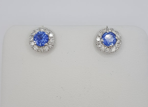 Sapphire and diamond cluster earrings s0.73cts d0.30cts