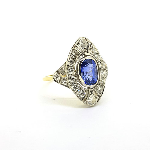 Sapphire and diamond Deco style ring S1.75Cts D0.95Cts