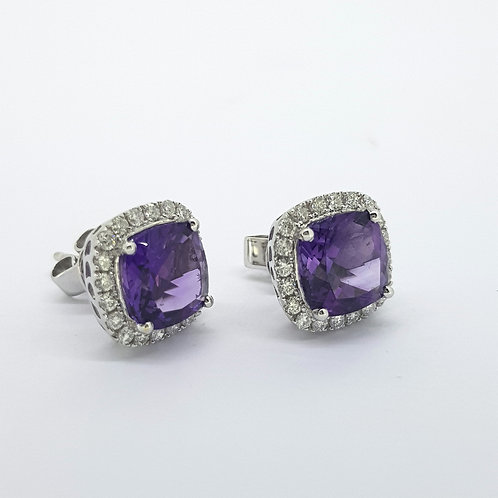 Amethyst and diamond cluster earrings Am3.78Cts D0.54Cts