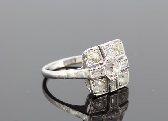 Diamond cluster baguette ring 1.85cts