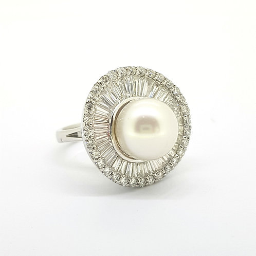 Southsea pearl and diamond ballerina ring  D est.3.0Cts