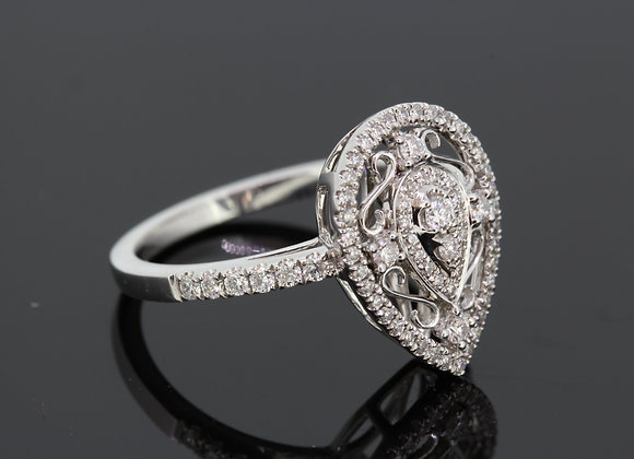 Pear diamond dress ring d 0.41cts