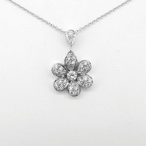 Diamond daisy cluster pendant D0.85Cts est.