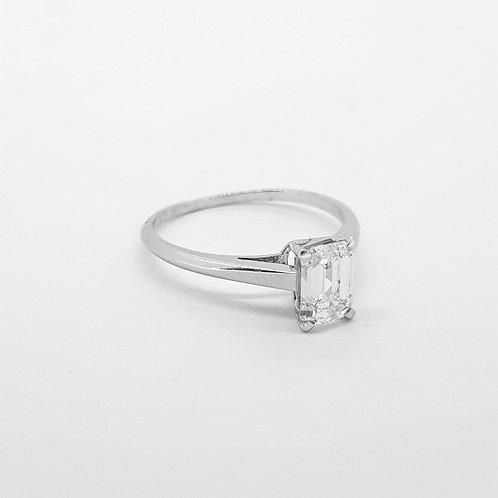 Emerald cut single stone ring