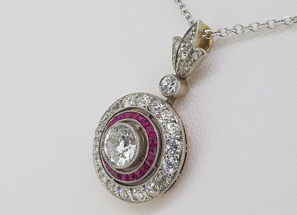 Ruby and diamond pendant d.5cts