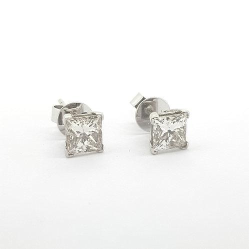 Princess cut diamond studs 2.02Cts