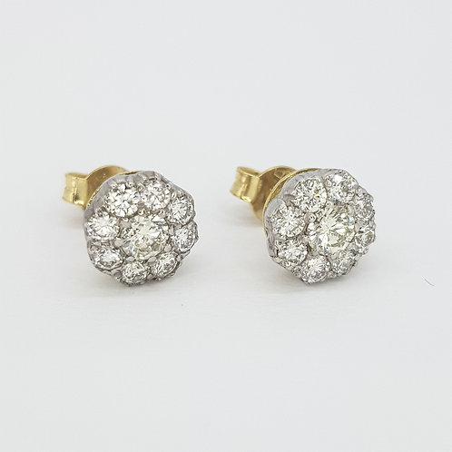 Vintage old cut diamond cluster earrings