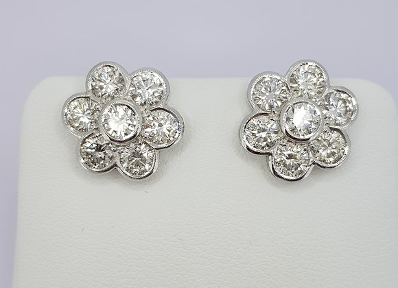 Daisy diamond cluster stud earrings 3.0cts