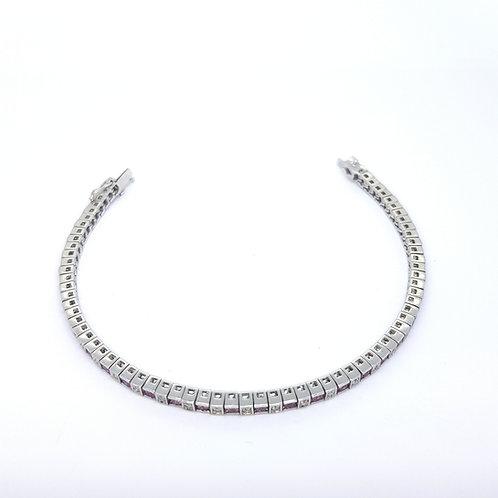 Pink Sapphire and diamond line bracelet
