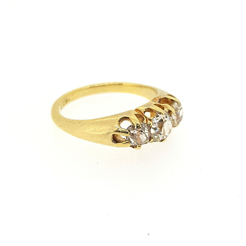 Traditional three stone old cut diamond ring est.1.0CTS