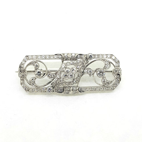 Deco diamond brooch D2.20Cts platinum