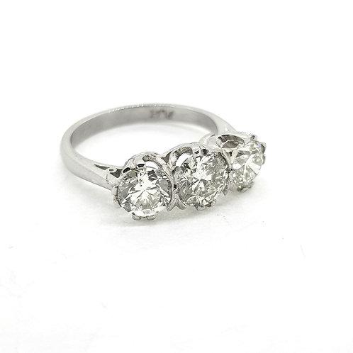Diamond three stone ring 2.40cts platinum