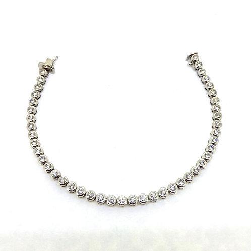 Diamond rub over setting line bracelet 4.40Cts
