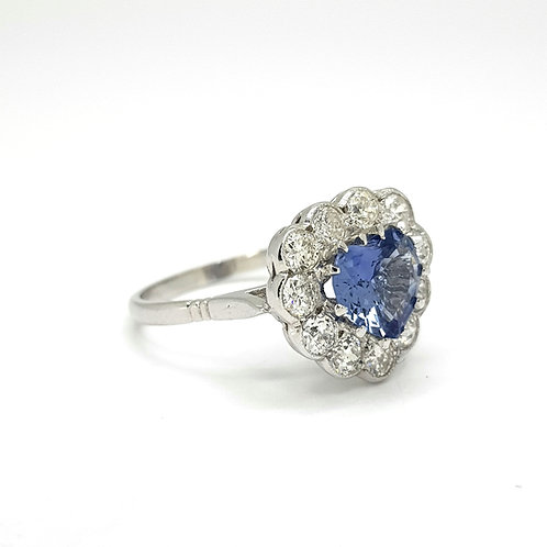 Sapphire and diamond heart cluster ring.