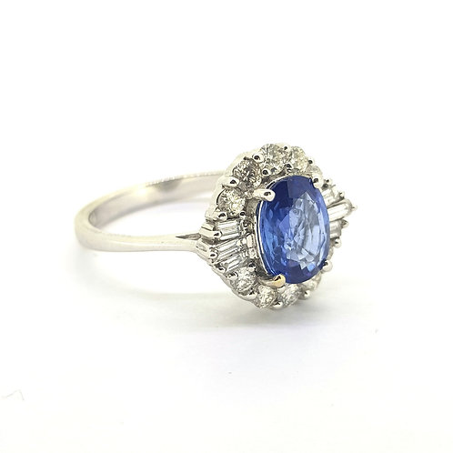 Sapphire and diamond cluster ring S1.42Cts D0.50Cts